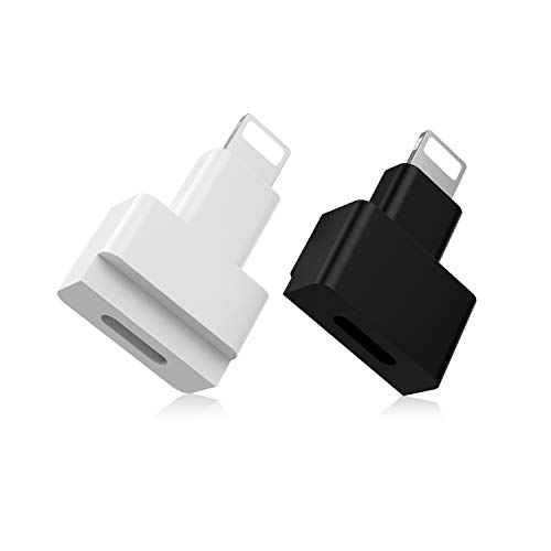 EMATETEK Dock Extender Connector Female to Male. Transfer Audio, Video, Picture, Data and Charging. 2PCS Extension Docking Charger Adapter for Lifeproof, Otterbox Cases. (White & Black)