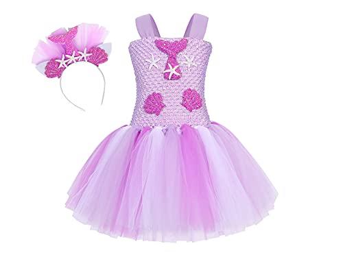 Jurebecia Vestido Sirenita Disfraz Sirena Niña Princesa Sirena Vestido Tutú Princesa Vestidos Fiesta de Cumpleaños Víspera de Todos los Santos Rosa 5-6 Años