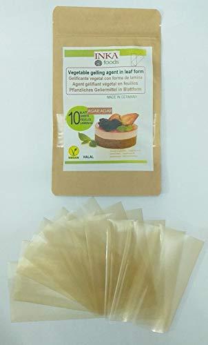 Gelificante vegetal agar agar en laminas, bolsa de 10 laminas.