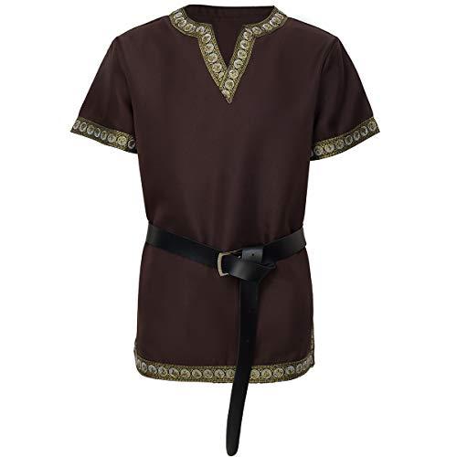 dream cosplay mittelalterliches Tunika Ritterkostüm Wikinger Krieger T-Shirt braun,groß