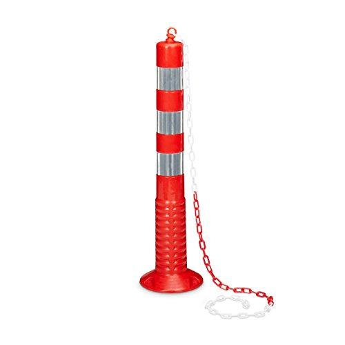 Relaxdays - Poste/Barrera de Aparcamiento con Cadena, Hecho de plástico, 75 x 22 x 22 por Cada Poste, Peso 1.3 kg, Color Rojo y Plateado