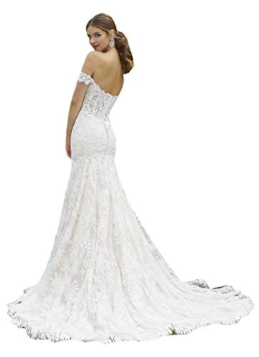 CGown Damenkleid, schulterfrei, Spitze, Meerjungfrau, Hochzeitskleid, mit Zug, Tüll-Applikation, Strandkleid, Brautkleid Gr. 34, weiß