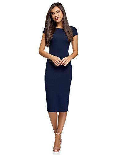 oodji Collection Damen Midi-Kleid mit Ausschnitt am Rücken, Blau, DE 32 / EU 34 / XXS