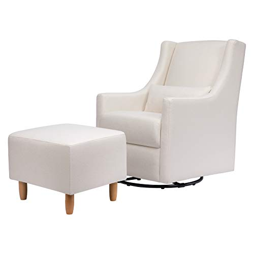 Babyletto Toco Upholstered Swivel Glider and Stationary Ottoman in Performance Cream Eco-Weave, Greenguard Gold Certified