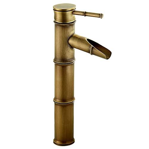 TTYY Grifo Mezclador de Latón con Diseño Retro de Cascada de Bambú Grifo de Lavabo Grifo de Baño con Función de Regulación de Agua Fría y Caliente Grifos de Lavabo de Baño Caño Alto Dorado Antiguo