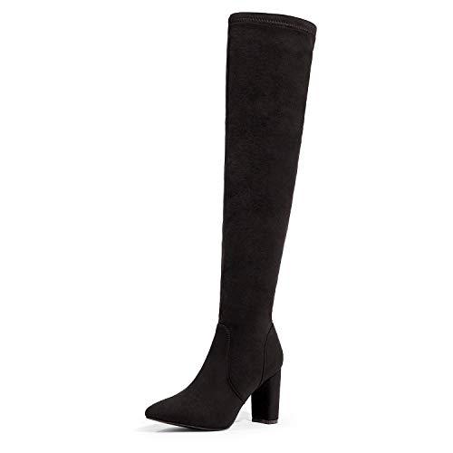 DREAM PAIRS Women's Black Thigh High Chunky Heel Stretch Over The Knee Boots Size 9 B(M) US Natasha-1
