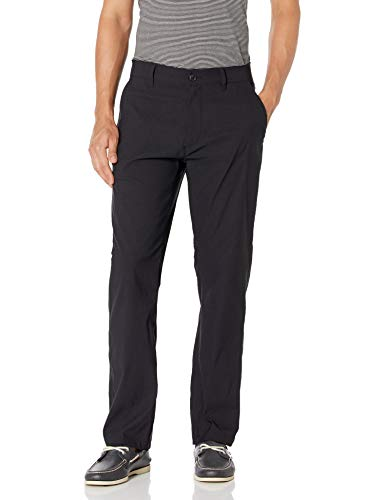 UNIONBAY Men's Rainier Lightweight Comfort Travel Tech Chino Pants, Black, 32x32