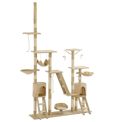 QIXIAOCYB Cat Tree with Scratching Posts 230-250 cm Multi-level Play Center Fully Functional Ladder and Climb Rope (Color : Yellow)