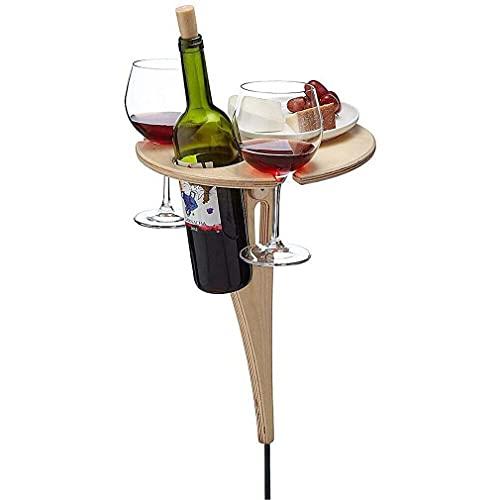 Foldable Portable Outdoor Wine Table Picnic Table Wine Glass Holder - Weinregal Holz für Picknick mit klappbarer Platte, Picknicktisch mit bequemer Koffer, Wein Geschenk Idee, Weinliebhaber