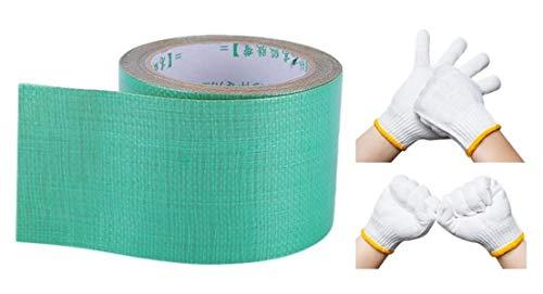 補修テープ 超強力 防水 ターポリン 素材 グリーン 8cm×8m 軍手付 養生テープ 粘着テープ テント シート 屋内 屋外 修理 アウトドア