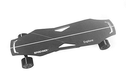 Brownrolly Skateboard eléctrico de Cuatro Ruedas X6 Ultra-Delgado inalámbrico Bluetooth Control Remoto Skateboard 4 velocidades Shift Gear Delantero y Trasero 300W Pantalla de luz LED con Llave en T