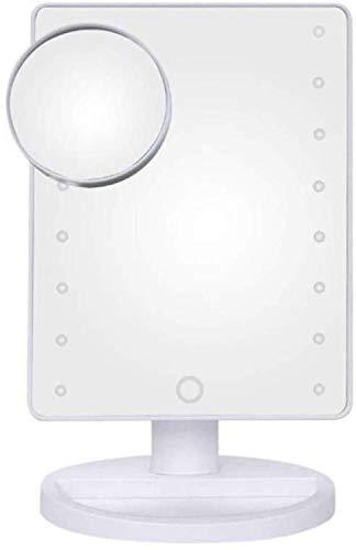 Espejo con luz Espejo de cortesía con 16 Luces LED, Pantalla de Espejo de tocador con Tacto, Desmontable 10X Lupa, 180 giratoria móvil Espejo de baño, agrandar (Color : White, Size : 17 * 22 * 27cm)