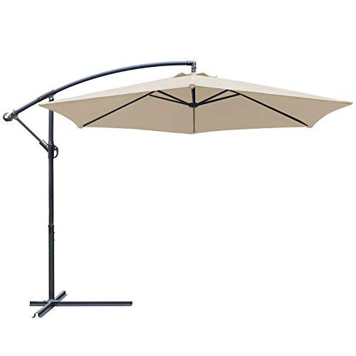 Greesum Offset Umbrella 10FT Cantilever Patio Hanging Umbrella Outdoor Market Umbrella with Crank and Cross Base (Beige)