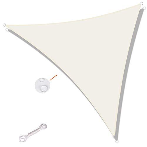 SUNNY GUARD Toldo Vela de Sombra Triangular 5x5x5m Impermeable a Prueba de Viento protección UV para Patio, Exteriores, Jardín, Color Crema