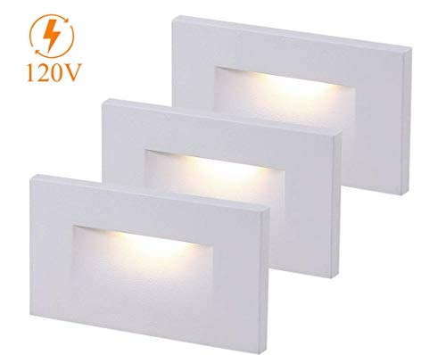 Cloudy Bay 120V Dimmable LED Indoor Outdoor Step Light,3-Pack,3000K Warm White,Stair Light,White Finish