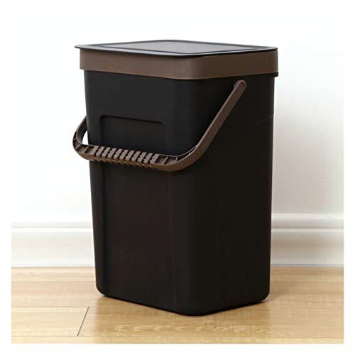 Cubo de basura Pequeño de basura para el hogar con la tapa de la pared de la papelera de la pared de la pared del recipiente de la cocina que cuelga la papelera para el baño, 1.8 galones / 3.1 galones