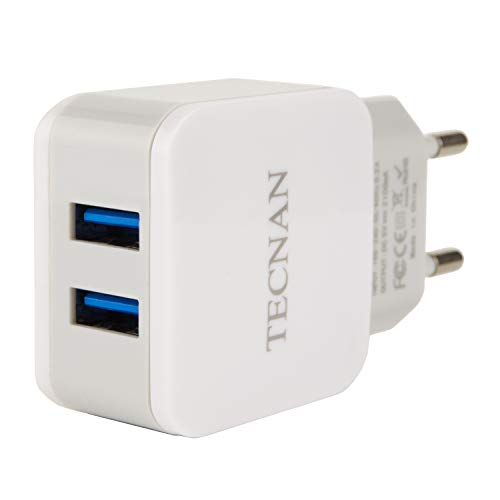 Tecnan Cargador USB 2,1A con 2puertos USB Fuente de alimentación