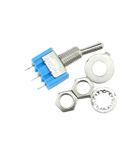 JSJJATQ Interruptores 10pc / Lot Mini Mini MTS-102 3-Pin SPDT ON-ON 6A 125VAC Cambiar en Miniatura Interruptores MTS-103 3-Pin ON-Off-ON (Color : ON Off ON)