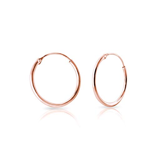 DTPsilver - Damen - Groß Creolen - Ohrringe 925 Sterling Silber und Rose Vergoldet - Dicke 1.2 mm - Durchmesser 30 mm…