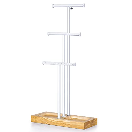 Love-KANKEI Jewelry Tree Stand White Metal and Wood Basic Adjustable Height with Large Storage for Necklaces Bracelets Earring White and Natural Color