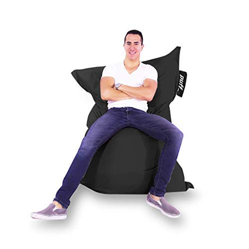 Sillón Puff Confort Interiores y Exteriores, múltiples Posiciones, Acabado Impermeable - Zen Adulto Acabado Tipo Nylon Negro