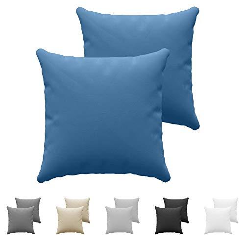 Juego de 2 x Fundas de Almohada 60x60 cm Azul Dreamzie - 100% Algodon Jersey - Funda de Almohada Algodon 60x60 - Funda Cojin para Cama 60x60 - Protector de Almohada