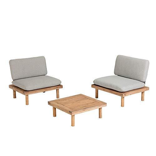 Kave Home - Set de Exterior Viridis con 2 sillones y Mesa Auxiliar 70 x 70 cm de Madera Maciza de Acacia para Interior y Exterior