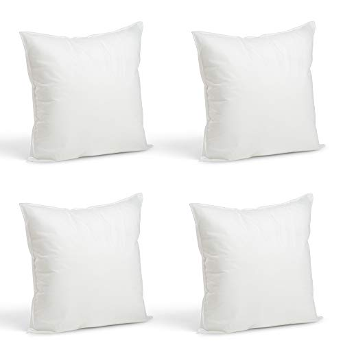 Foamily Throw Pillows Insert Set of 4 - 16 x 16 Insert for Decorative Pillow Covers - Made in USA - Bed and Couch Pillows