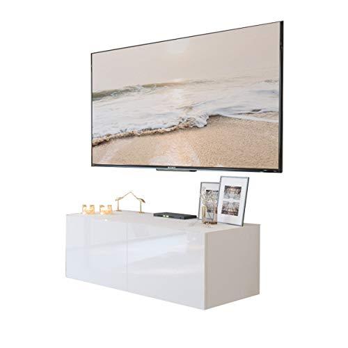 Lukmöbel Colgante 100 TV-Schrank Hängeschrank Weiß Hochglanz HG Fernsehschrank mit LED Beleuchtung und Push to Open System TV- Bank Sideboard Lowboard Wohnwand Wohnzimmer