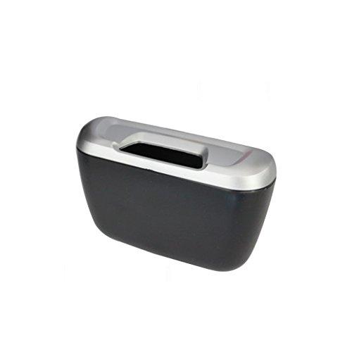 Homelx Papelera plástica creativa del coche con la abrazadera, interior multifuncional del coche Papelera pequeña pequeña del coche Cenicero Papelera ligera mini con la tapa plegable (Color : Silver)