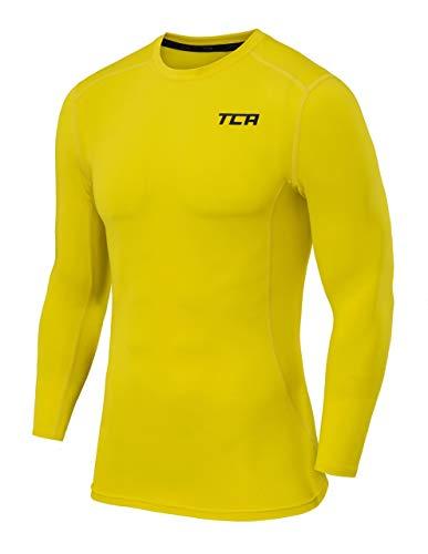 TCA Pro Performance Herren Funktionsshirt/Kompressionsshirt mit Rundhalsausschnitt - Langarm - Sonic Yellow (Gelb), L