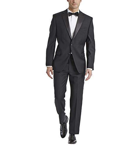 Carlo Lusso Men's Single Breasted 2 Button Front Notch Lapel Tuxedo Suit Set, Black Regular Fit, 36 Regular