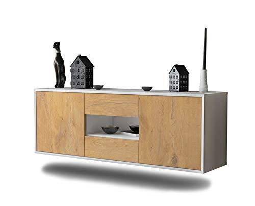 Lowboard Tampa hängend (136x47x35cm) Korpus weiß matt   Front Holz-Design Eiche   Push-to-Open   hochwertige Leichtlaufschienen