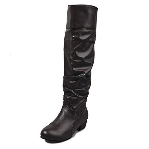 UMore Botas Altas Invierno Mujer, Botas de Nieve Caña Ancha Zapatos Mujer Cuña Planos Sintética Peluche Jinete Bajo Cómodos Peludas Calentitas 2021