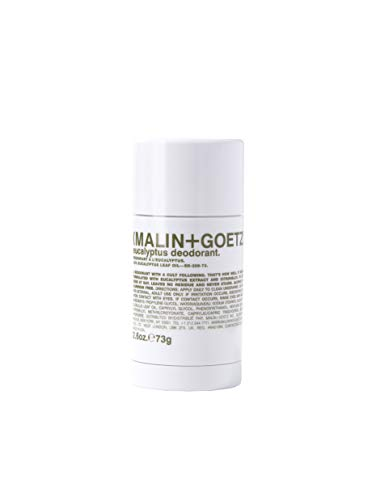 Malin + Goetz Eucalyptus Deodorant, natural yet effective odor + sweat defense for all skin types, goes on clear, no residue, no stains, free of aluminum, alcohol, baking soda, parabens, 2.6 Fl Oz