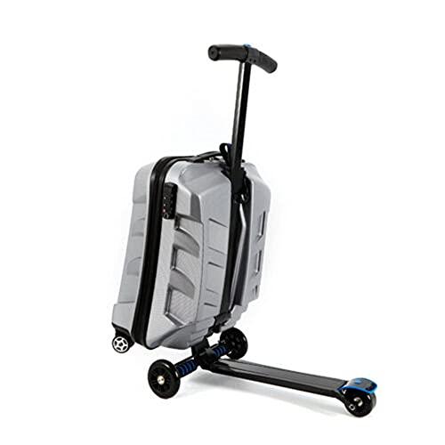 Futchoy Maleta plegable de 21 pulgadas, de aluminio, 55 cm, para equipaje de mano, con 100 mm de poliuretano, para niños y adultos, color plateado