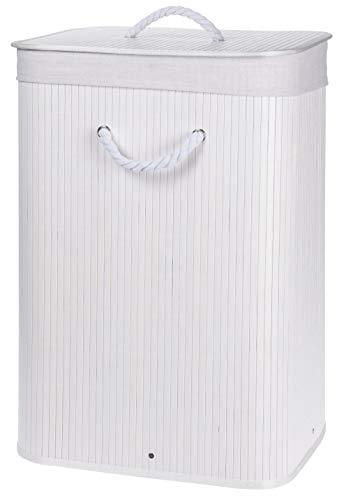 MIJOMA Faltbarer Wäschekorb aus Bambus, Wäschebox Wäschetruhe Wäschekiste Wäschesammler, mit Wäschesack aus Baumwolle, 40x30x60cm (Weiß)