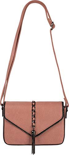 styleBREAKER dames schoudertas in enveloppenontwerp met bolletjes, ketting en kwastje, schoudertas, handtas, tas 02012274, Farbe:oude roos