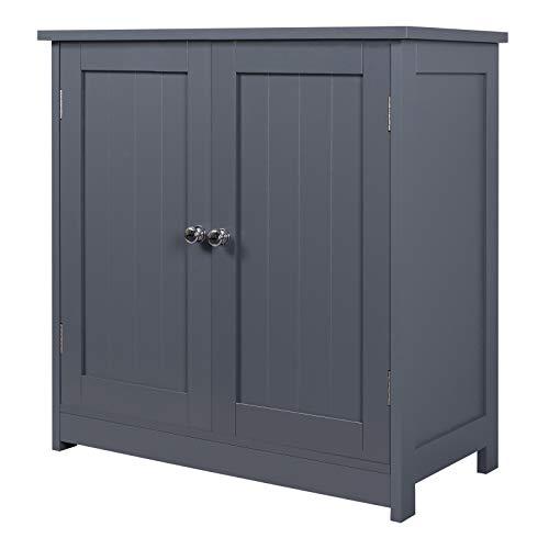WOLTU BZS02gr Waschbeckenunterschrank Unterschrank Badschrank Waschtischunterschrank Badregal Waschtisch Grau Holz 60x60x30cm