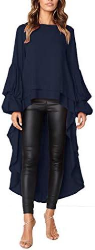 PRETTYGARDEN Women s Lantern Long Sleeve Round Neck High Low Asymmetrical Irregular Hem Casual product image