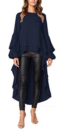 PRETTYGARDEN Women's Lantern Long Sleeve Round Neck High Low Asymmetrical Irregular Hem Casual Tops Blouse Shirt Dress (Navy, Medium)