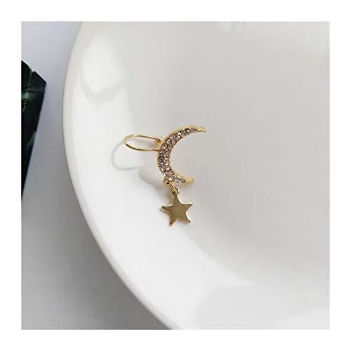 LUOSI Vintage Gold Star Luna Hojas No-Piercing Ear Clip Pendientes para Mujeres Hombres Punk Fake Cartílago Ear Partido Regalos Party (Metal Color : Ear clip5)