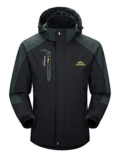 MAGCOMSEN Herren Outdoorjacke Skijacke Wasserdicht Windstopper Jacke Atmungsaktiv Wanderjacke für Männer Winterjacke mit Abnehmbarer Kapuze Schwarz XL