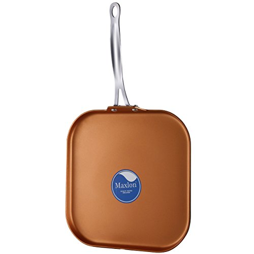 COOKSMARK Copper Pan 11-Inch Nonstick Copper Griddle Pan with Stainless Steel Handle Dishwasher Safe Oven Safe PTFE PFOA Free