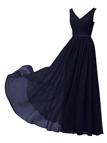 Alicepub V-Neck Dark Navy Bridesmaid Dresses Chiffon Long Maxi Formal Dress for Women Party Evening Sleeveless, US6