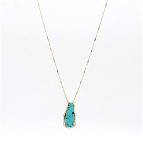 XWXWP Rose Crystal Quartz Naturstein Anhänger Halskette Gold Langkettige Halskette Schmuck Geschenke @ 22