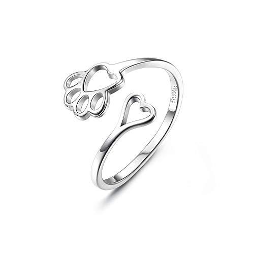 CASSIECA 925 Plata Anillos Mujer Niñas Amantes De Mascotas Calado Corazón Paw Animal Jewelry Regalo Creativo Anillo Abierto Ajustable