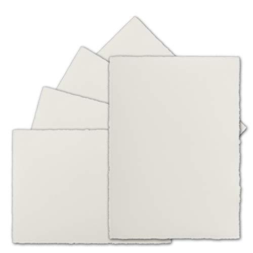50 Stück DIN A6 Vintage Karten, echtes Bütten-Papier, 105 x 148 mm, Natur-Weiß halbmatt - ohne Falz - Vellum Oberfläche - Original Zerkall-Bütten