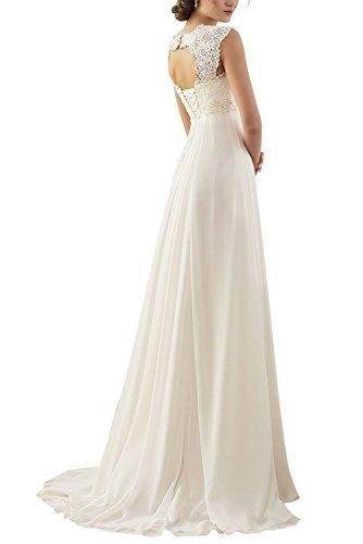 Erosebridal Ärmellos Spitze Chiffon Hochzeitskleid Brautkleid Elfenbein DE36 - 2