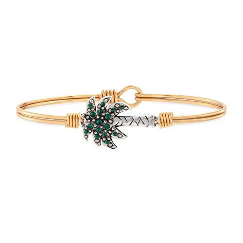Luca + Danni Palm Tree Bangle Bracelet For Women - Brass Tone Petite Size Made in USA